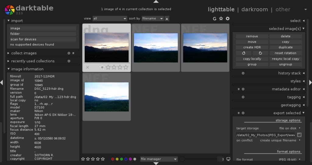 การทำภาพ HDR ด้วยโปรแกรม Darktable